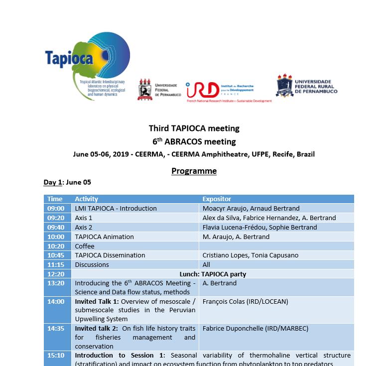 TAPIOCA-ABRAÇOS meeting 05-06/06/2019