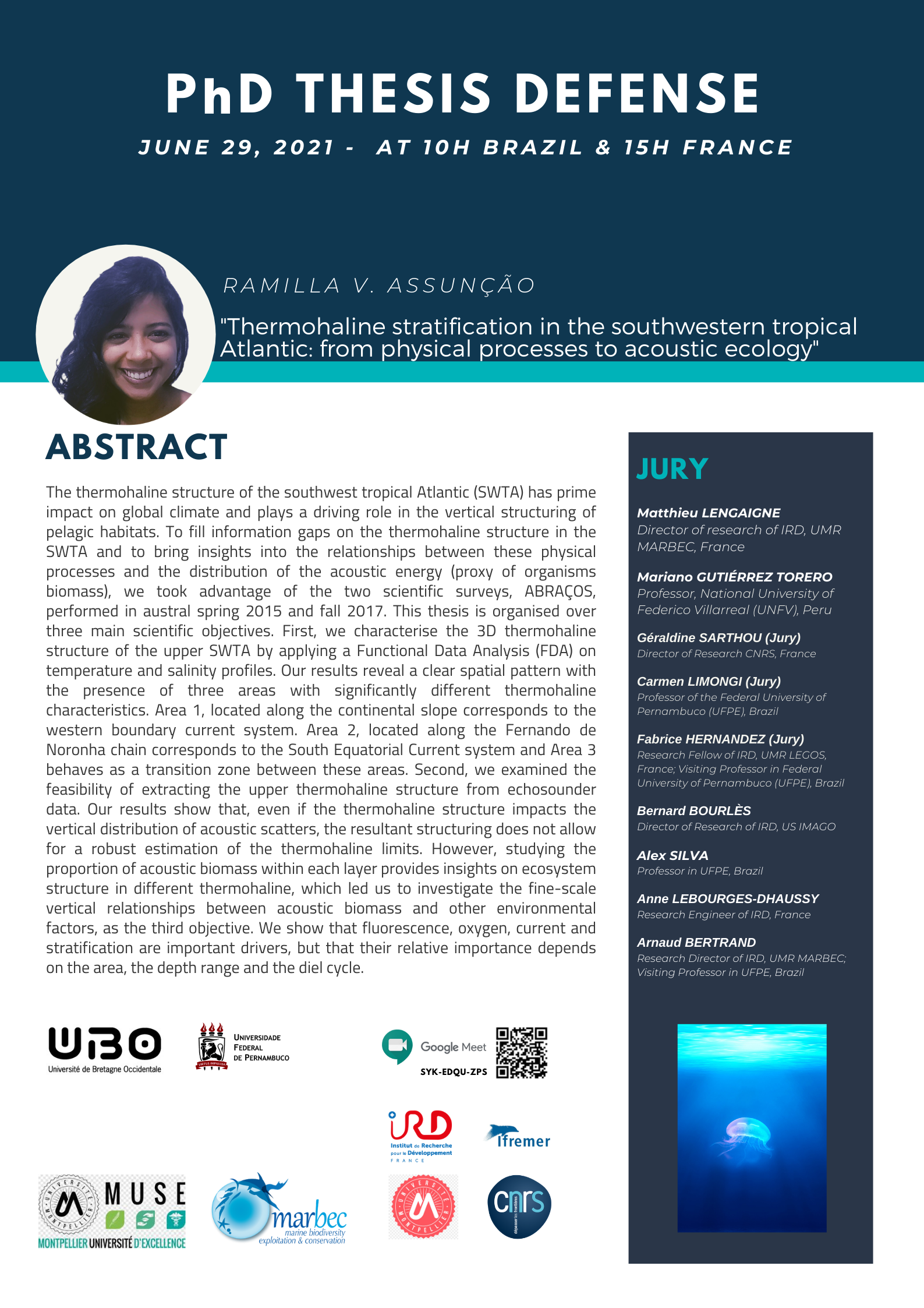 """PhD Thesis Defense: """"Thermohaline stratification in the southwestern tropical Atlantic: from physical processes to acoustic ecology"""""""